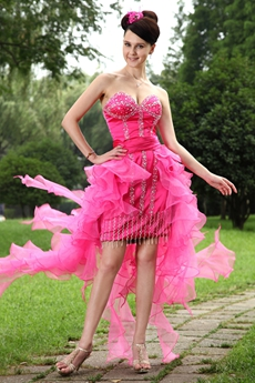 Lovely Organza Low-cut Sweetheart Hot Pink Sweet Sixteen Dress