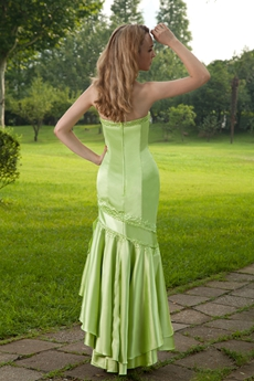 Sage Color Mermaid Prom Dress Wuth High Low Hem