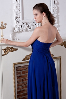 High Low Hem Royal Blue Chiffon Junior Prom Gown