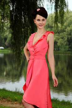 V-Neckline Watermelon Homecoming Dress Asymmetrical Hem