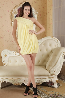 Modern One Shoulder Sheath Mini Length Yellow Cocktail Dress