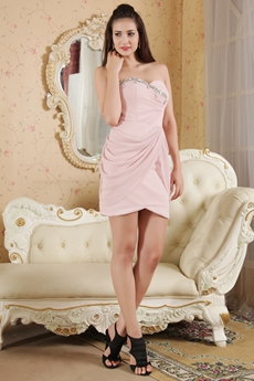 Mini Length Pink Chiffon Homecoming Dress