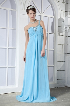 One Shoulder Empire Full Length Blue Chffon Maternity Evening Dress