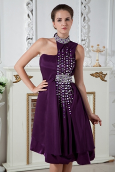 Unique Halter Neckline Grape Color Prom Dress