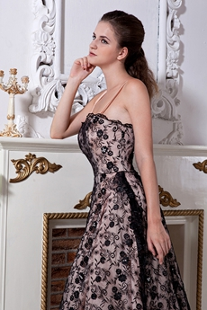 Tea Length Spaghetti Straps Black Lace Homecoming Dress