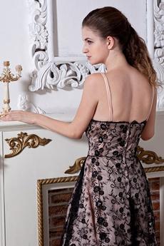 Tea Length Spaghetti Straps Black Lace Homecoming Dress
