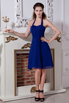 Cheap Royal Blue Chiffon Homecoming Dress Mini Length