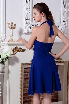 Cheap Royal Blue Chiffon Homecoming Dress Mini Length