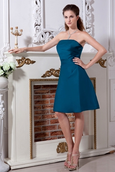 Knee Length Strapless A-line Jade Wedding Guest Dress