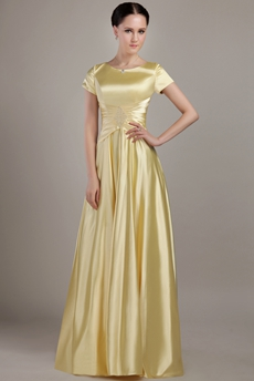 Short Sleeves Jewel Neckline Yellow Bridesmaid Dress