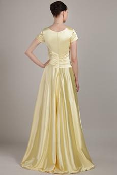 Short Sleeves Jewel Neckline Yellow Bridesmaid Dress