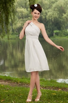 One Shoulder Gray Chiffon Knee Length Bridesmaid Dress