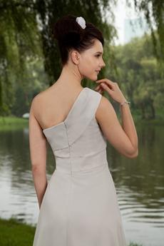 One Shoulder Gray Chiffon Knee Length Bridesmaid Dress