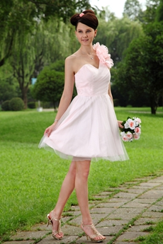 Cute One Shoulder A-line Mini Length Light Pink Damas Dress