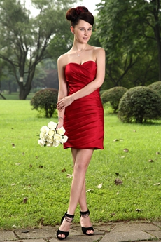 Column Mini Length Dark Red Satin Bridesmaid Dress Pleated
