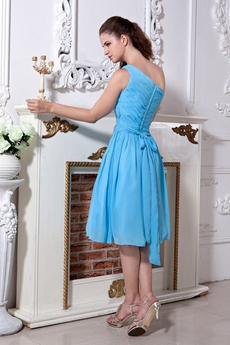 One Shoulder Column Knee Length Blue Chiffon Prom Dress