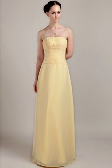 Cheap Column Long Length Yellow Chiffon Bridesmaid Dress
