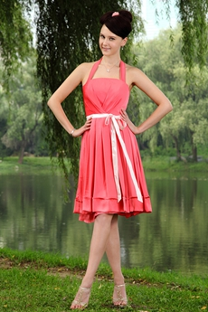 Watermelon Top Halter Bridesmaid Dress Short Length