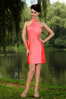Mini Length Halter Watermelon Junior Bridesmaid Dress