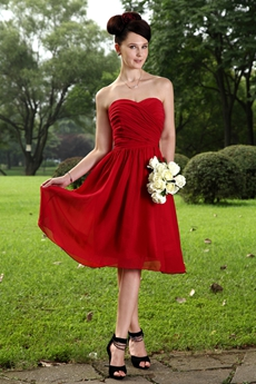 Knee Length Dark Red Chiffon Junior Bridesmaid Dress