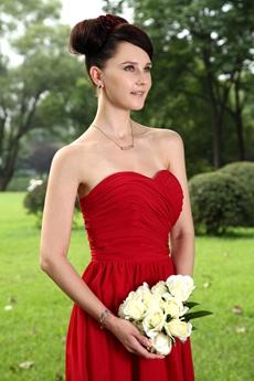 Knee Length Dark Red Chiffon Junior Bridesmaid Dress