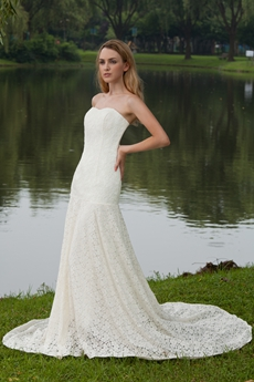 Dazzling Sweetheart A-line Full Length Lace Wedding Dress