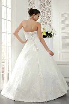Sparkled Sweetheart Ball Gown Full Length Lace Wedding Gown
