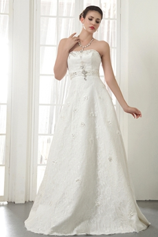 Affordable A-line Full Length Lace Wedding Dress
