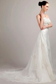 Luxurious Beaded A-line Lace Wedding Dress