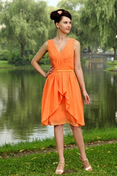 Knee Length Chiffon Orange Bridesmaid Dress