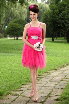 Puffy Mini Length Hot Pink Tulle Damas Dress