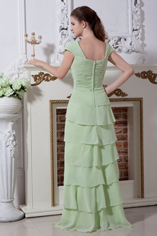 Cap Sleeves Column Full Length Sage Chiffon Prom Gown