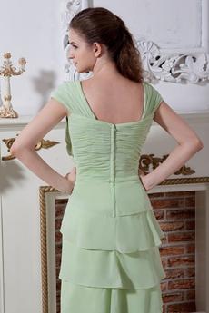 Cap Sleeves Column Full Length Sage Chiffon Prom Gown