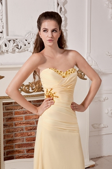 Column Floor Length Yellow Chiffon Evening Dress