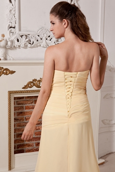 Column Floor Length Yellow Chiffon Evening Dress