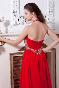 Top Halter A-line Long Red Chiffon Prom Dress