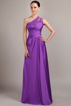 Charming One Shoulder Column Plum Bridesmaid Dress