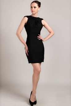 Backless Sheath Mini Length Black Nightclub Dress