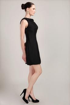 Backless Sheath Mini Length Black Nightclub Dress