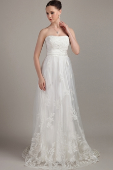 Grecian A-line Full Length Lace Wedding Dress