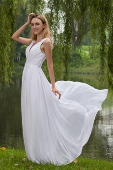 Casual V-Neckline Empire Full Length White Chiffon Maternity Wedding Dress