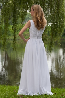 Casual V-Neckline Empire Full Length White Chiffon Maternity Wedding Dress