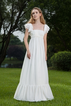 Grecian Short Sleeves Empire Floor Length Maternity Wedding Dress