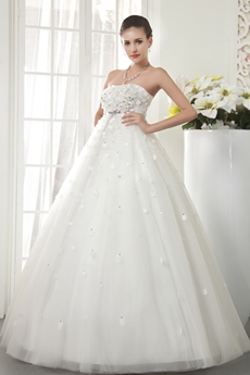 Empire Full Length Dipped Neckline Maternity Wedding Dress