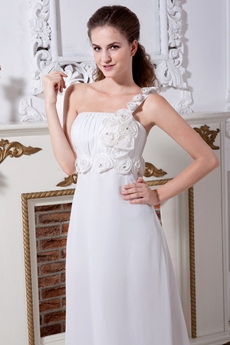 Greek One Shoulder Chiffon Destination Wedding Dress