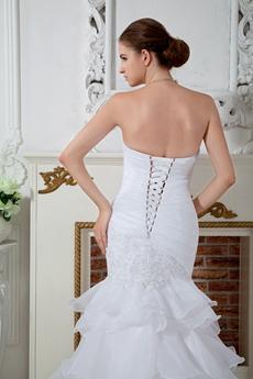 Ruffled Organza Mermaid/Trumpet Wedding Dress With Appliques