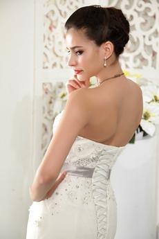 Vintage Strapless Neckline Full Length Plus Size Mermaid Wedding Dress