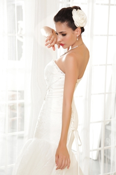 Corset Back Sweetheart Full Length Trumpet Wedding Dress