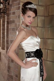 Sweetheart Neckline Mermaid Wedding Dress With Black Sash