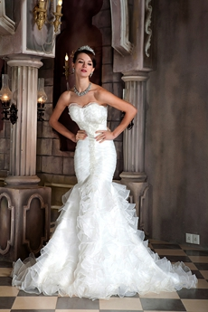 Gorgeous Sweetheart Full Length Trumpet/Mermaid Wedding Dress